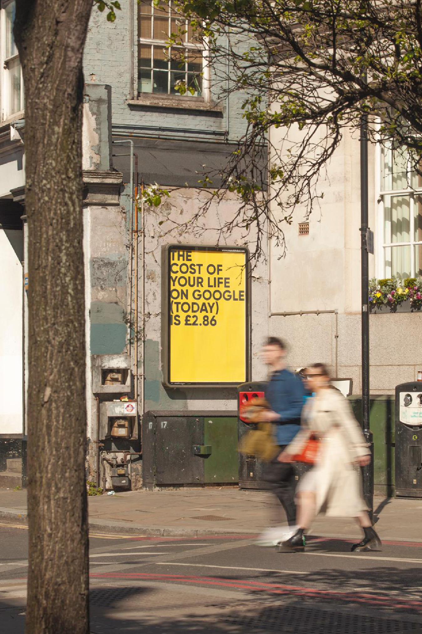 The Cost of Your Life on Google, by Fabio Lattanzi Antinori, Public Artwork, Installation view, Old Street, London 2021